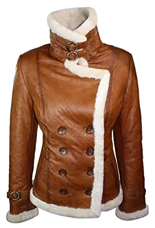 Ladies Women Real Shearling Sheepskin Aviator Tan Brown Leather ...