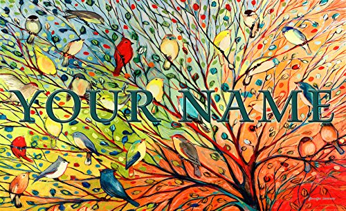 Name Door Mat - Toland - Tree Birds Personalized/Customizable Indoor Outdoor Welcome Door Mat USA-Produced