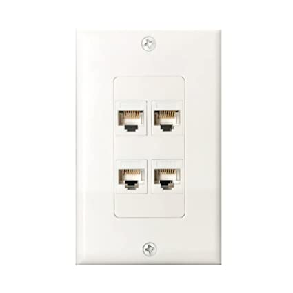 Surprising Amazon Com 4Port Cat6 Wall Plate And Keystone Fly Tiger Rj45 Jack Wiring Cloud Oideiuggs Outletorg