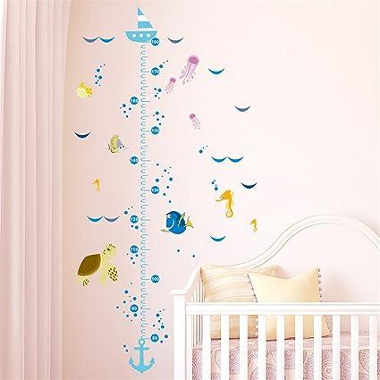 Medidor altura niños pegatina pared puerta vinilo decorativo barco peces y  tortuga para cuartos bebes niños juegos guarderias colegios de CHIPYHOME
