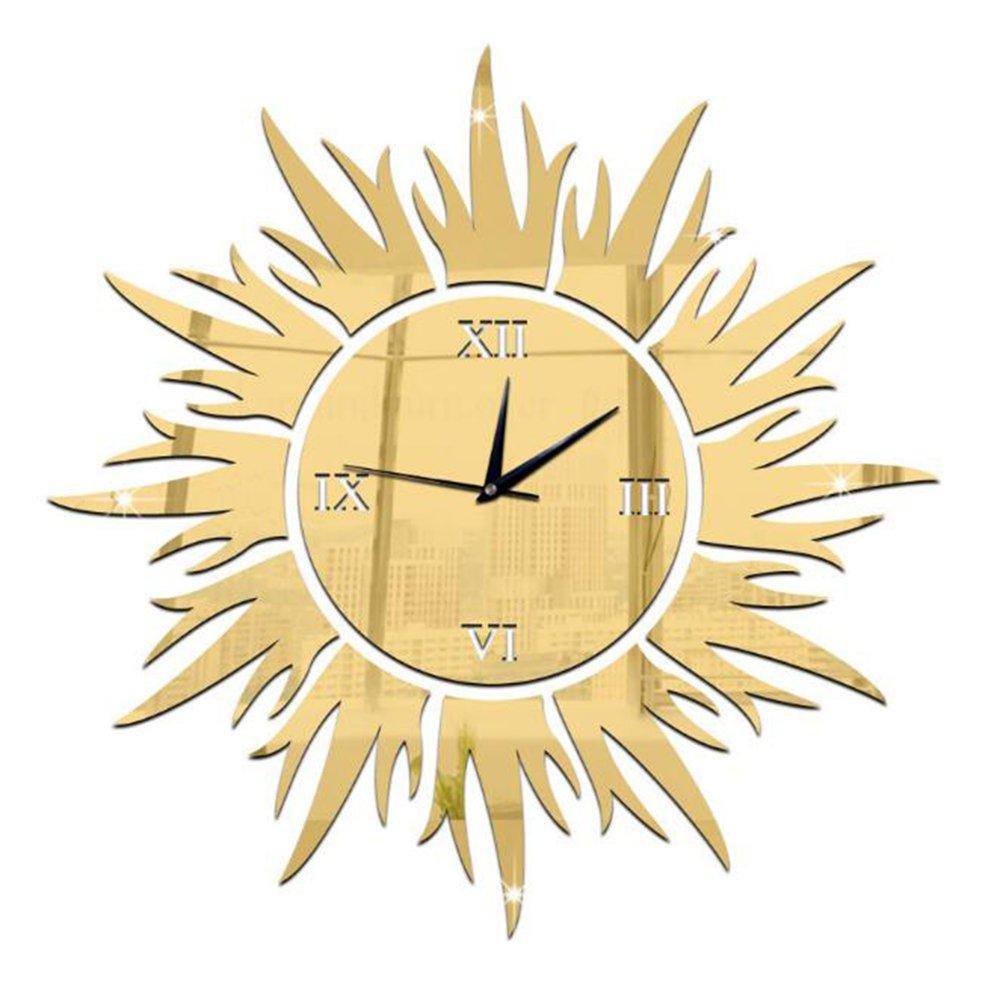 CLOCK Horloge Murale DIY Circulaire Miroir Horloge Décorations Murales Soleil en Trois Dimensions Sticker Mural Moderne Créativité Ornements Salon Lieux Publics, Gold