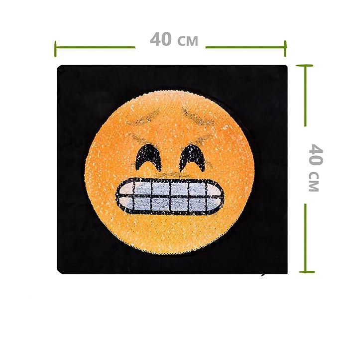 longble 2pcs Reversible lentejuelas funda de almohada Emoji ...