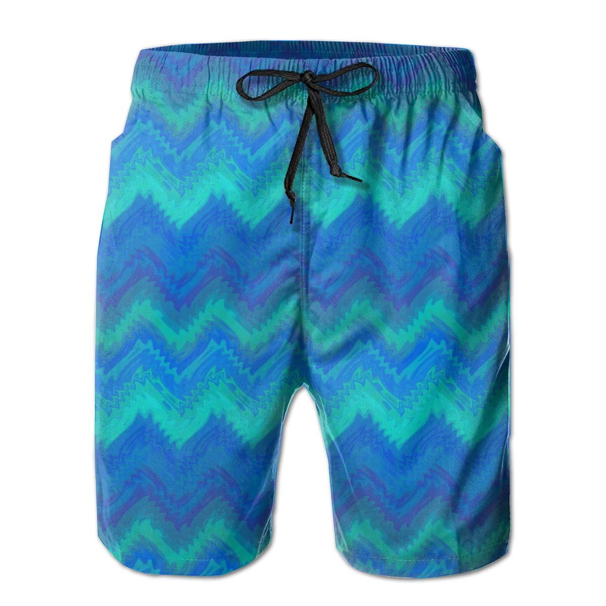Blue/_Flame/_Chevron Mens Swim Trunks Bathing Suit Shorts Board Beach
