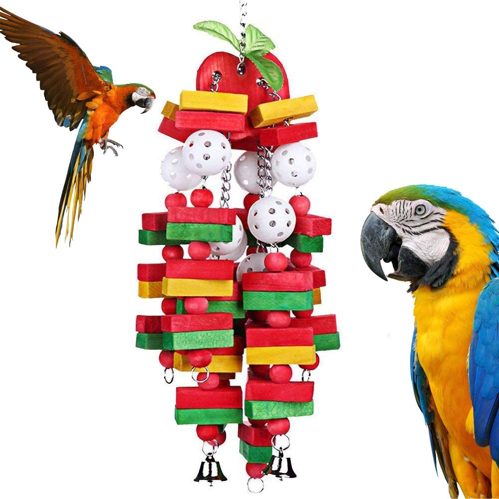 REAL PET Parrot Chewing Toy Large Medium Parrot Cage Bite Toys Bird Block Toys with Bells for Medium Parrots and Birds Like Amazon,African Grey and Cockatoos