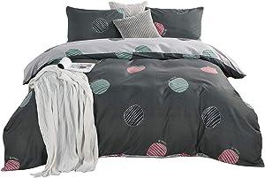 Erosebridal Polka Dot Bedding Grey Duvet Cover Set Geometric Printed Reversible Comforter Cover Twin(1 Duvet Cover 1 Pillowcase) Simple Modern Dots Printed Microfiber Bedding Set Gift for Kids Teen