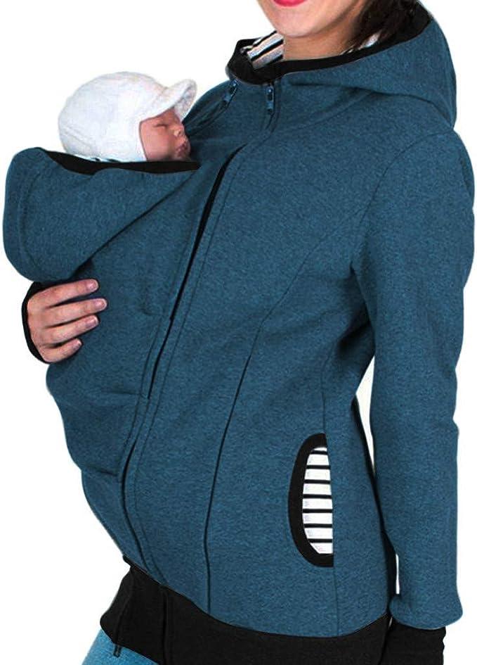 Riou Damen Winter Tragejacke f/ür Mama und Baby 3in1 K/ängurujacke Warme Zipper Hooded Mutterschaft Schwanger Tragepullover