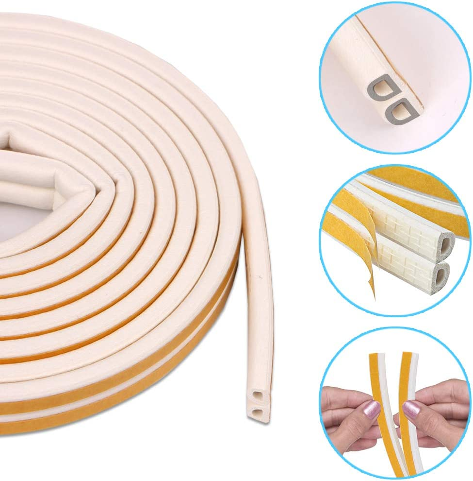 4 Pack Rubber Weather Strip Window Draft Excluder Tape D Type Self-Adhesive Weather Stripping Door Window Draught Excluder Strip Foam Seal Weatherstrip 9mm X 6mm X 2.5 Meters,Total 20M, 8 Doorseals