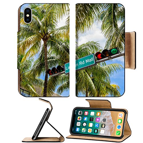 Liili Premium Apple iPhone X Flip Pu Leather Wallet Case Lincoln Road Mall street sign located in Miami Beach - Lincoln Beach Miami Mall