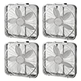 Lasko 20'' Preimum Steel Box Fan w/3 Speed Settings and Easy Carry Handle, 4 Pack