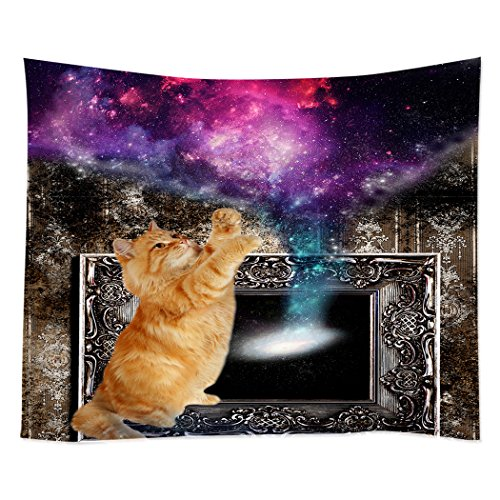 Hippie Tapestry Art Wall Hangings Tapestries Brown Wallpaper Funny Cat Play With Galaxy - Cheap Nyc Eyeglasses