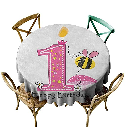 Mantel redondo de tartán para primer cumpleaños, globos con ...