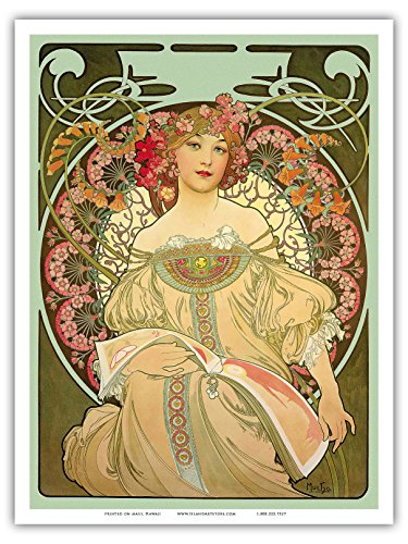 Champagne - Art Nouveau Deco - Vintage French Advertising Poster by Alphonse Mucha c.1897 - Master Print
