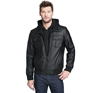 31f5ac910 Amazon.com: Black Rivet Mens Big & Tall Fauxleather Bomber Jacket ...