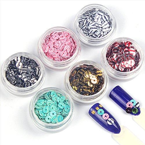 (Nail Circle Sequin - 6 Bottle/Set 3D DIY Nail Art Decorations Stripe Circles Sequins Nail Glitters Acrylic Powders Nail Charms)