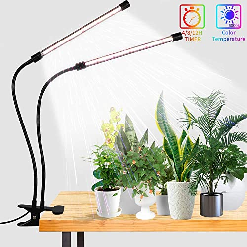 LED Grow Lights,6000K Full Spectrum 50W White Plant Light LED Bulbs with Clip for Indoor Plant,5-Level Dimmable,Auto On Off Timer 4 8 12Hrs