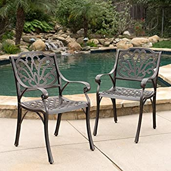 Calandra | Cast Aluminum Outdoor Dining Chairs | Set Of 2 | Perfect For  Patio | In Bronze