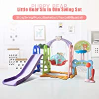 Toddler Climber and Swing Set with Music, 6 in 1 Kids Climber Slide Playset with Basketball Hoop, Swing, Climb Stairs, Football Combinations Games, Indoor Outdoor Backyard Infant Playground(from US)