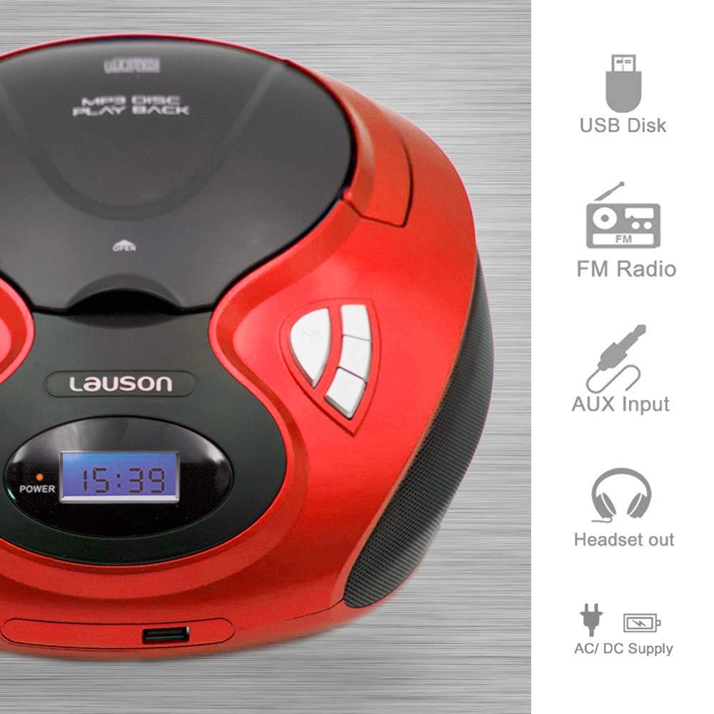 Radio Am//FM CD Player con Salida para Auriculares 3.5mm CP630 Blanco Lauson Radio y Reproductor de CD Port/átil con USB USB y Mp3
