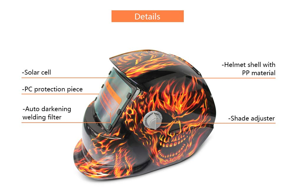Welding Helmet Solar Power Auto Darkening Arc Tig Mig Protect Grinding Welder Mask with Adjustable Shade Range