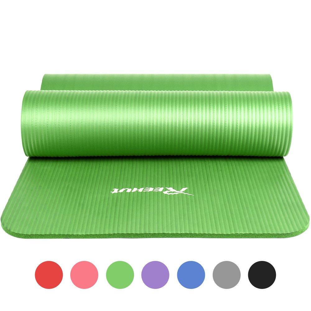 REEHUT Colchoneta de Yoga de NBR de Alta Densidad y Extra Gruesa de 12mm Diseñada para Pilates, Fitness y Entrenamiento/Correa Portátil(Verde)