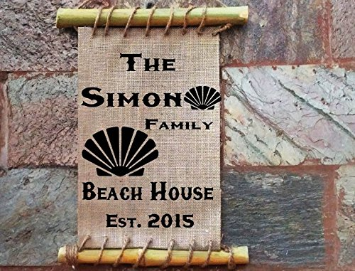 Personalized Family Beach House Sea Shell sign Framed Burlap Art Print - Bamboo Framed Home Decor - Housewarming Gift -- Vacation Home - Lake House ()