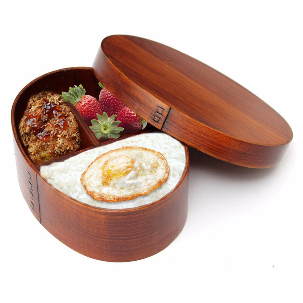 Portable Bento Boxes Oval Wood Lunch Box Sushi Food Container with Straps
