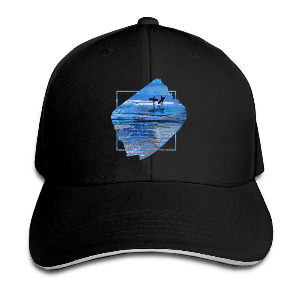 Beach Surfer Surfing Silhouette Outdoor Sandwich Duck Tongue Cap Adjustable Baseball Hat Hip Hop Hat