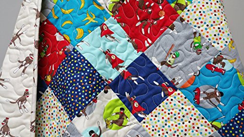 Sock Monkey Baby Boy Quilt by Now and Then Quilts