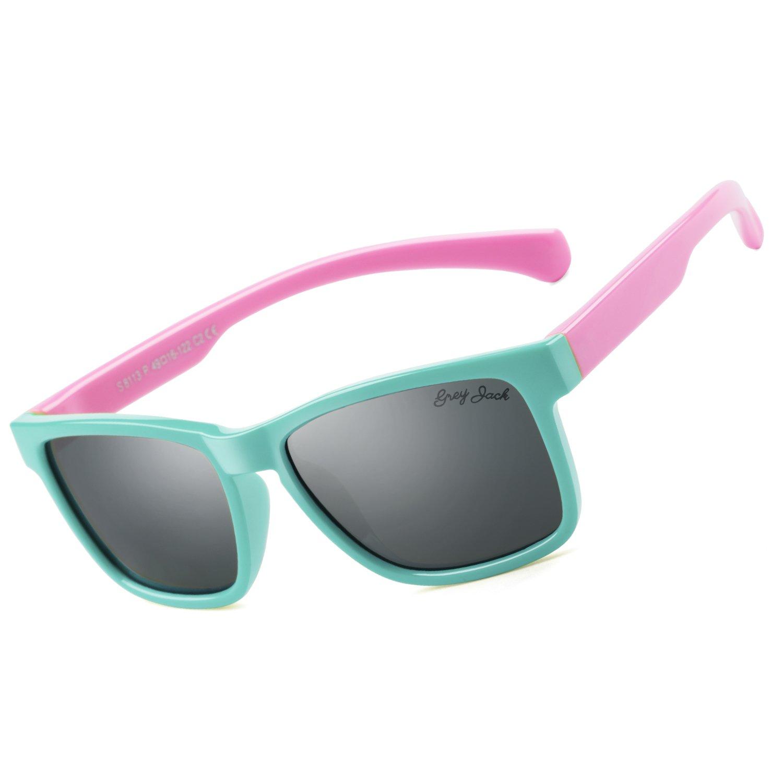 93b19d7df5db Grey jack stylish kid aviator sunglasses for boys girls aged green frame  pink legs sports outdoors