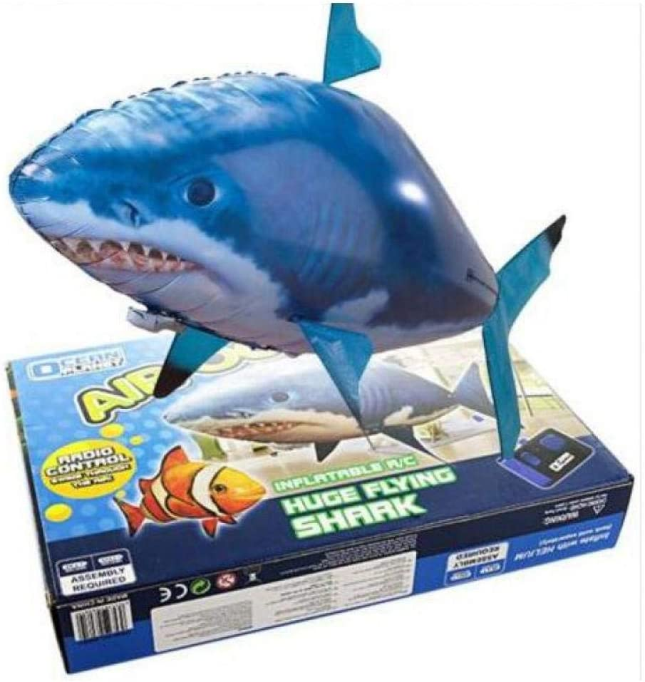 Remote Control Flying Shark Toy Clown Nemo Fish Balloons Inflatable Helium RC Air Plane Drone UFO with Light Best Christmas Gift Black