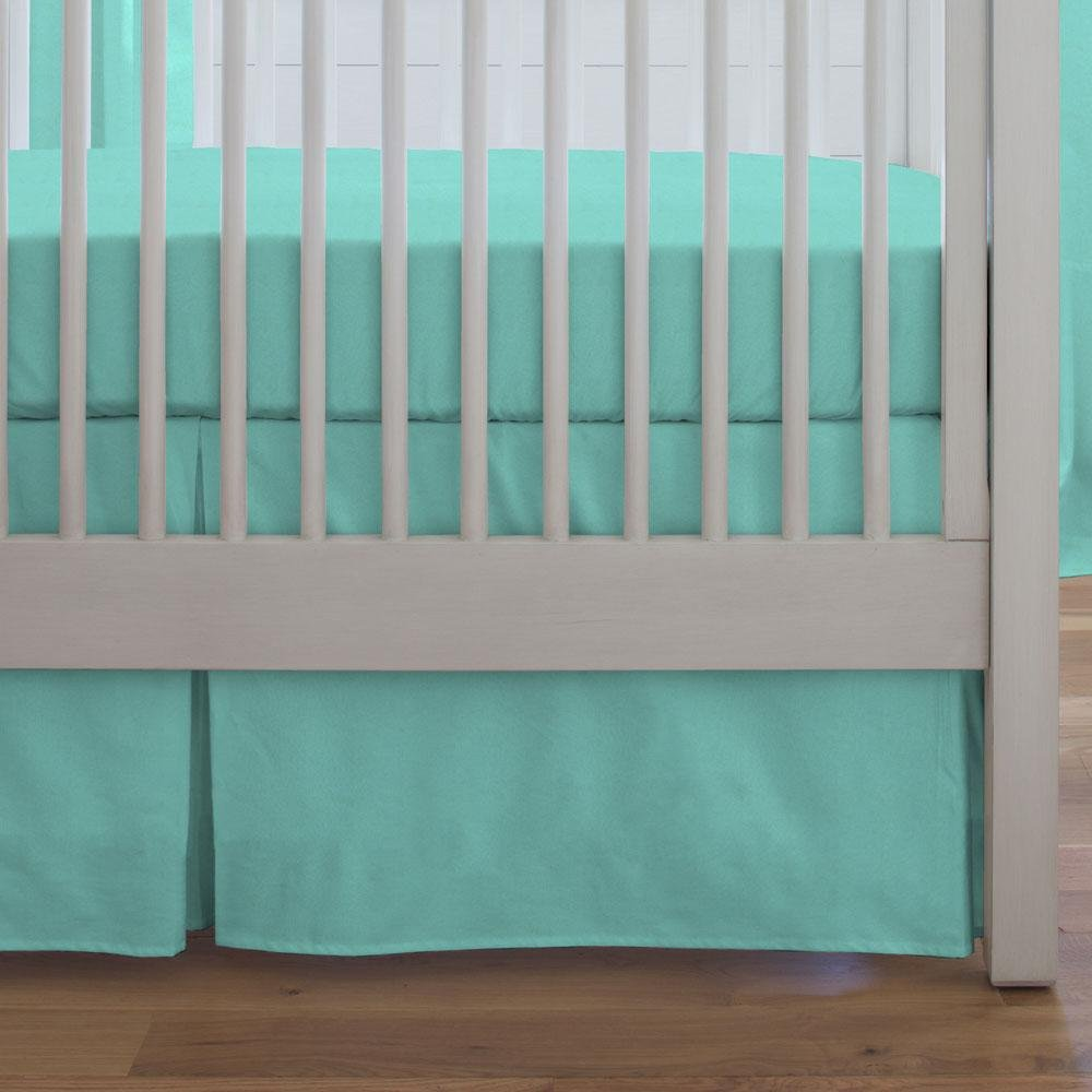 Carousel Designs Solid Teal Crib Skirt Box Pleat 20-Inch Length