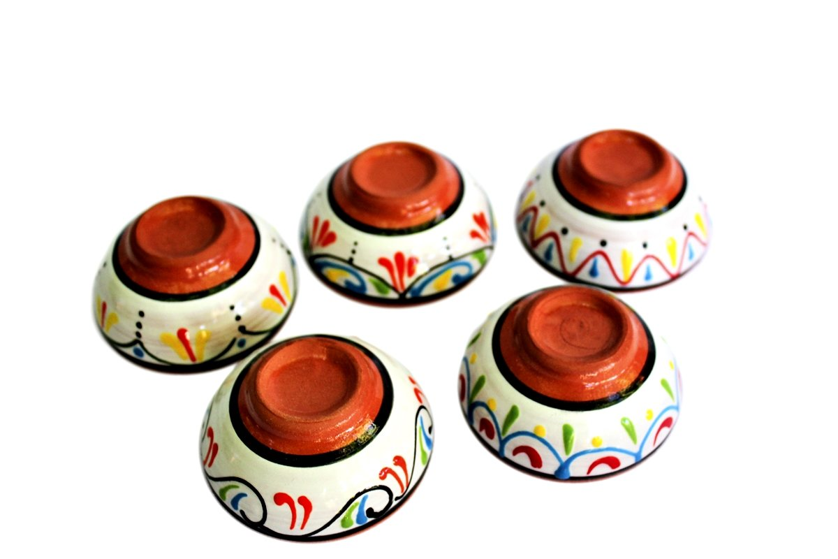 Cactus Canyon Ceramics Terracotta White, Super Mini-Bowl Set of 5 - Hand Painted from Spain