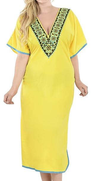 LA LEELA Mujeres caft/án Ray/ón t/única 3D HD Impreso Kimono Libre tama/ño Largo Abaya Vestido Jalabiyas de Fiesta para Loungewear Ropa de Dormir Playa Todos los d/ías Cubrir Vestidos AU