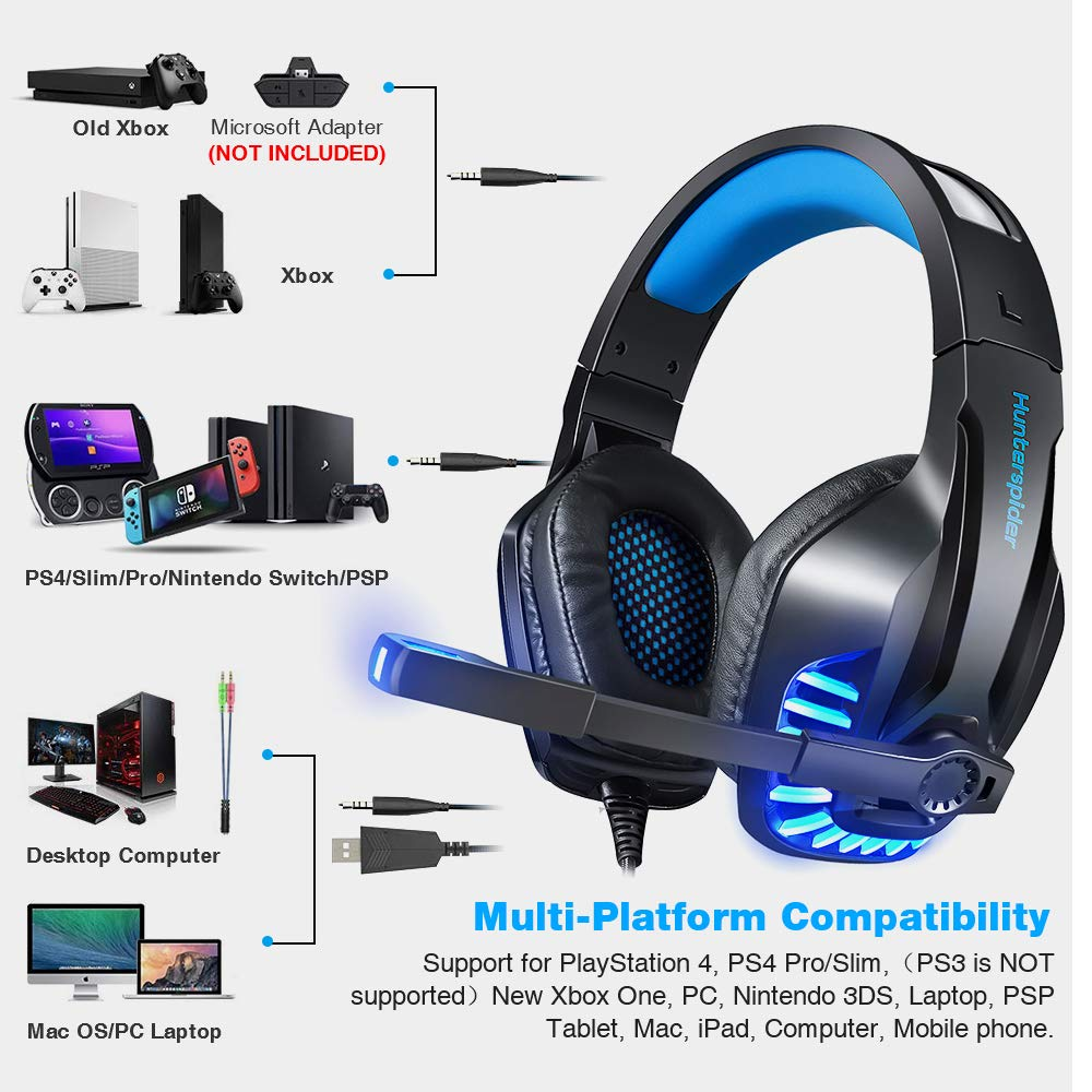 Gaming Headset with Mic for PS4, PC, Xbox One, Surround Sound Noise  Cancelling Over Ear Headphones with Soft Memory Ear Pads, LED Light, Volume