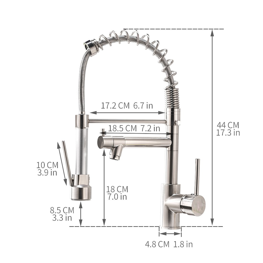 Aimadi Contemporary Kitchen Sink Faucet - Single Handle Stainless Steel Kitchen Faucets with Pull Down Sprayer,Brushed Nickel by AIMADI (Image #6)