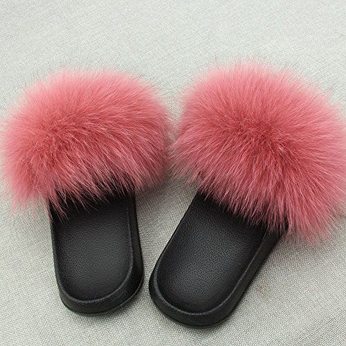 Dark Slipper Fur Pink Flop Slide Soft qmfur Women's Flat Flip Fox wpRqgTxzF