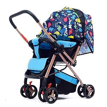 Baby car Cochecito de bebé Asiento Plegable Reclinado Acero al Carbono Carro de bebé bebé Antes y Después de Dos Vías Lmplementation Cubierta de Lluvia ...