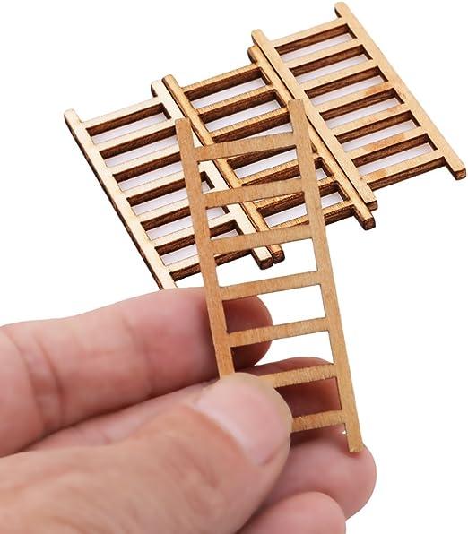 Pinhan - 4 Mini escaleras de Madera para decoración del hogar o jardín, diseño de Hadas: Amazon.es: Hogar