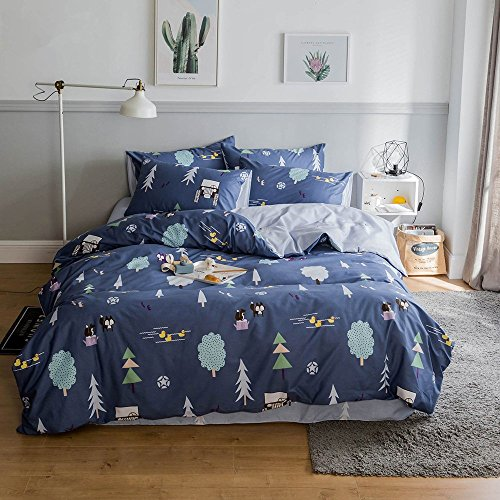 EnjoyBridal Teens Boys Bedding Sets Cotton Blue Queen Size T
