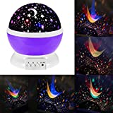 CEStore Night Lighting Lamp [ 4 LED Beads, 3 Model Light] Romantic Rotating Cosmos Star Sky Moon Projector, Ideal for Decorating Wedding, Birthday, Parties and Christmas Gift-Purple