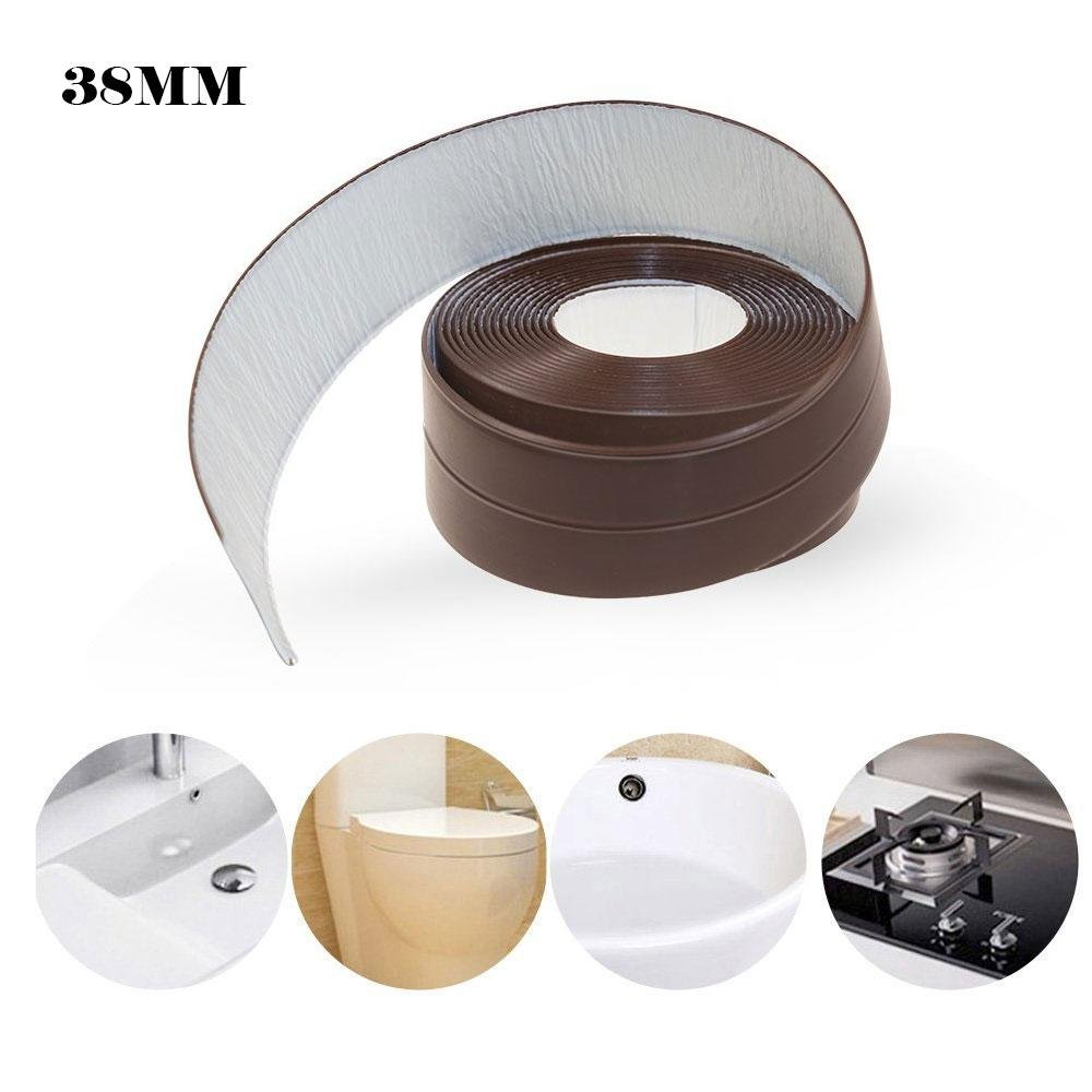 Paintable Caulk Strip, 11Ft/3.35M PE Caulk Strip Brown Caulking Strip Tape for Kitchen Bathroom, 38MM Wide Flexible Adhesive Caulk Strips for Sink Bathtub Shower Window Floor and Wall