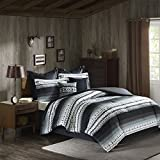 8 Piece Black Grey Southwest Comforter Queen Set, Native American Southwestern Bedding, Horizontal Tribal Stripe Geometric Motif Lodge, Indian Themed Pattern, Aztec Western Colors Off White Light Gray