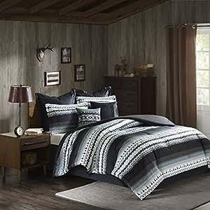 Amazon Com 8 Piece Black Grey Southwest Comforter Queen