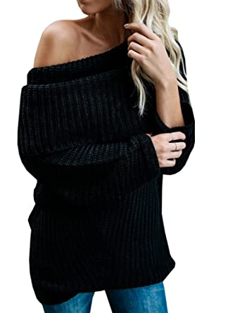 VOIANLIMO Womens Off Shoulder Knit Jumper Long Sleeve Pullover Baggy Solid  Sweater 191260407