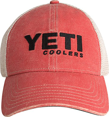 [YETI Coolers Washed Low-Pro Trucker Hat, Red] (Yeti Hat)