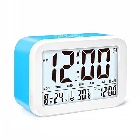 JZK Despertador digital con alarma - con temperatura información de fecha snooze función 3 modo de alarma inteligente para dormitorio niños adultos ...