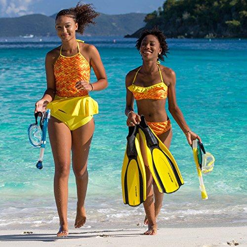 Fin Fun - Mermaidens - Tankini para mujer - Con volante - Estampado de escamas - Estilo sirena Amanecer tropical/amarillo