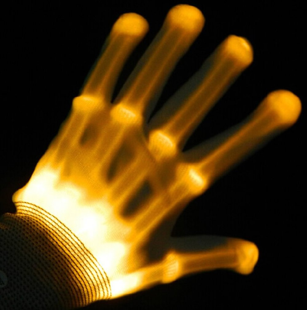 LED Colorful Flashing Finger Lighting Gloves for Clubbing Dancing Rave Birthday EDM Disco Light Show By Cideros (Yellow Light)