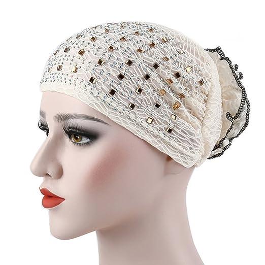 b644a011081 Amazon.com  dds5391 Floral Glitter Muslim Hijab Cap Solid Color Stretch Women  Turban Hat  Clothing