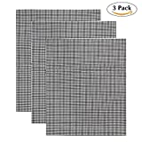 BBQ Grill Mesh Mat Set of 3, Non Stick BBQ Mesh Grill Mats Teflon Grilling Mats Fish Vegetable Smoker Grill Mats | Works on Gas, Charcoal, Electric Barbecue (3Pcs,Black)
